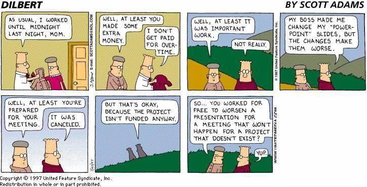 Dilbert Working Late